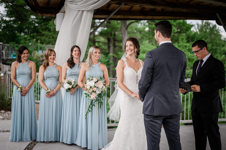 wedding dress,blue-grey bridesmaids
