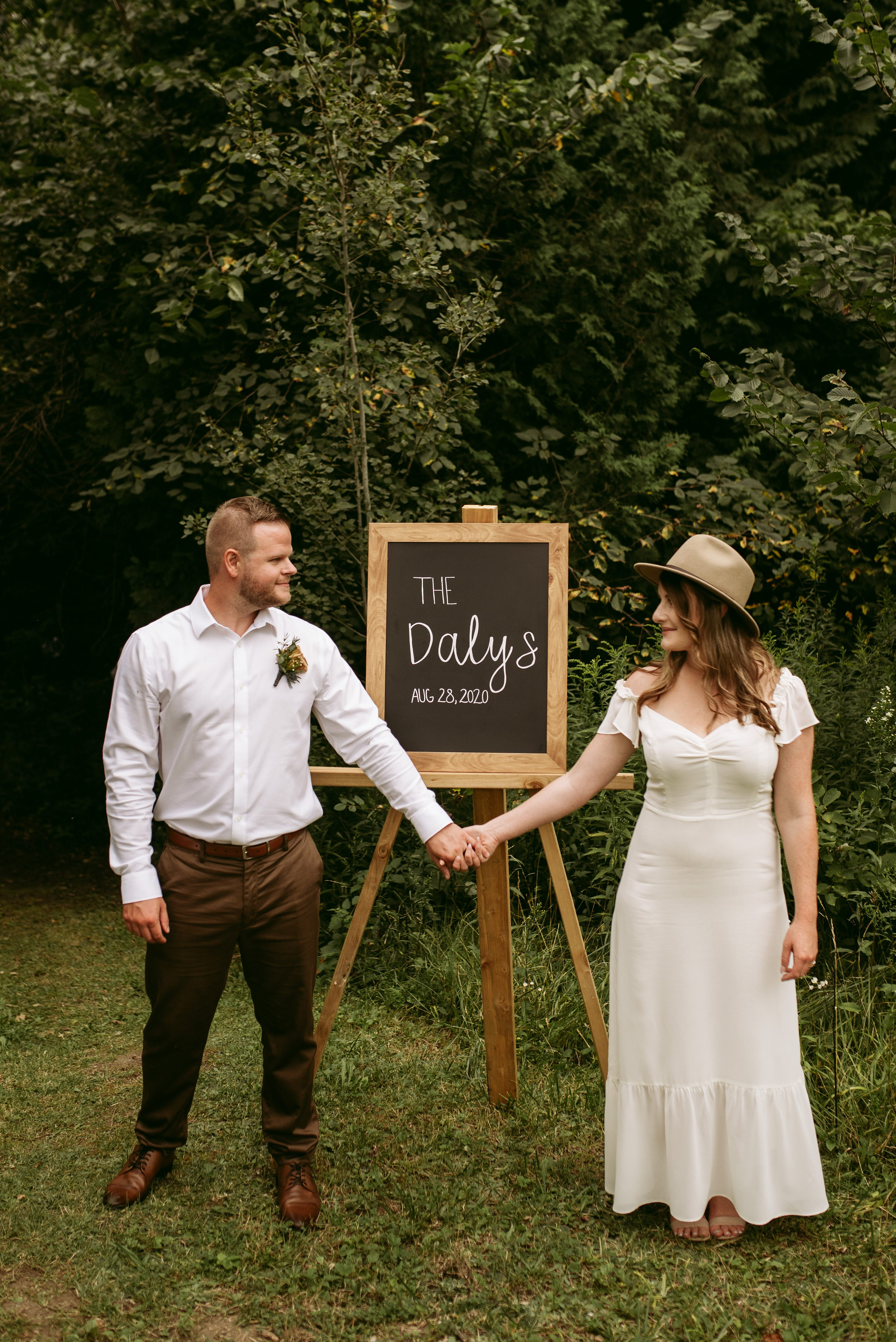 backyard elopement,wedding with dogs