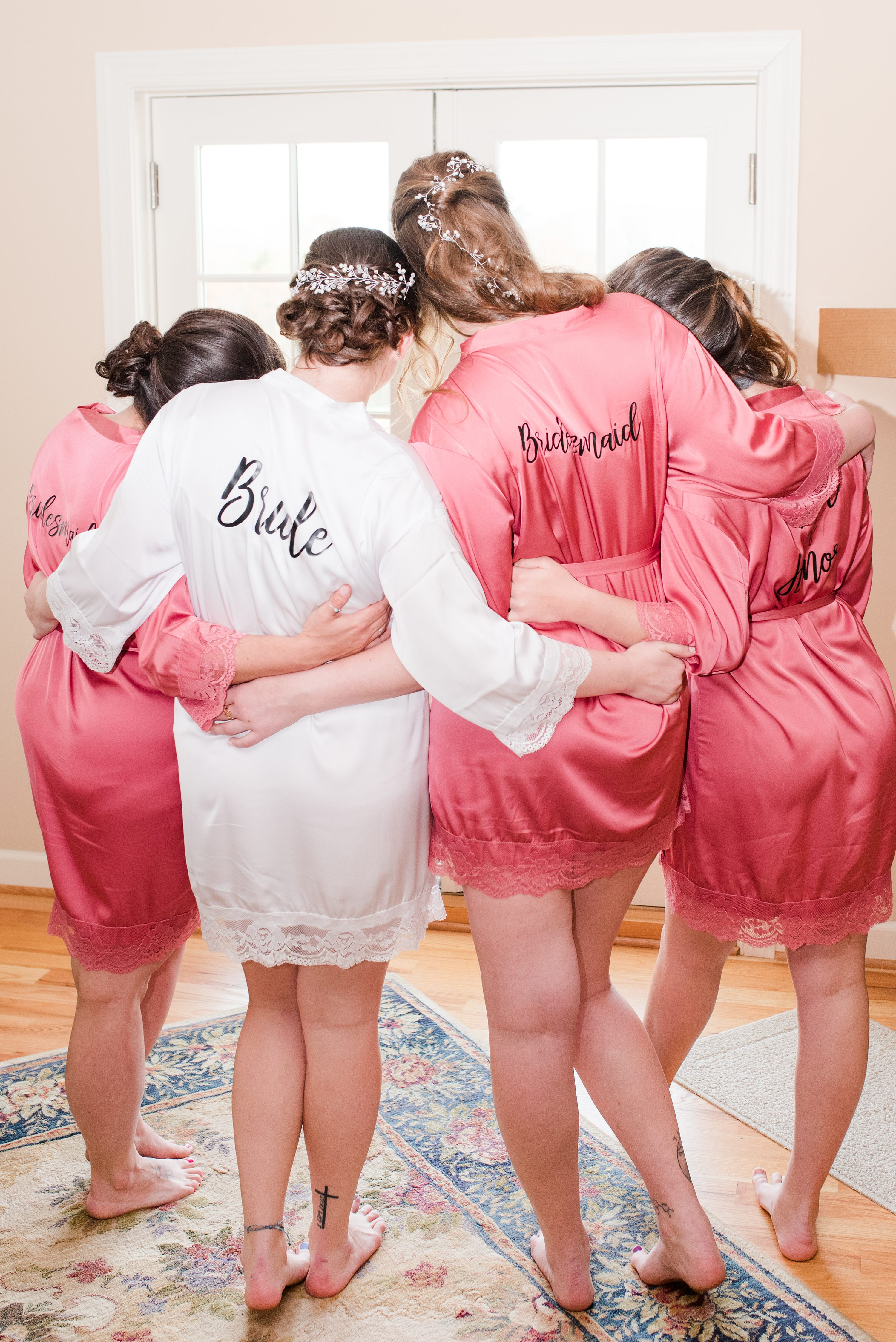 Charlottesville Wedding Photographer,Spring,bride and bridesmaids,wedding robes,bridesmaids,bridesmaids in robes,bridal party on bed,champagne