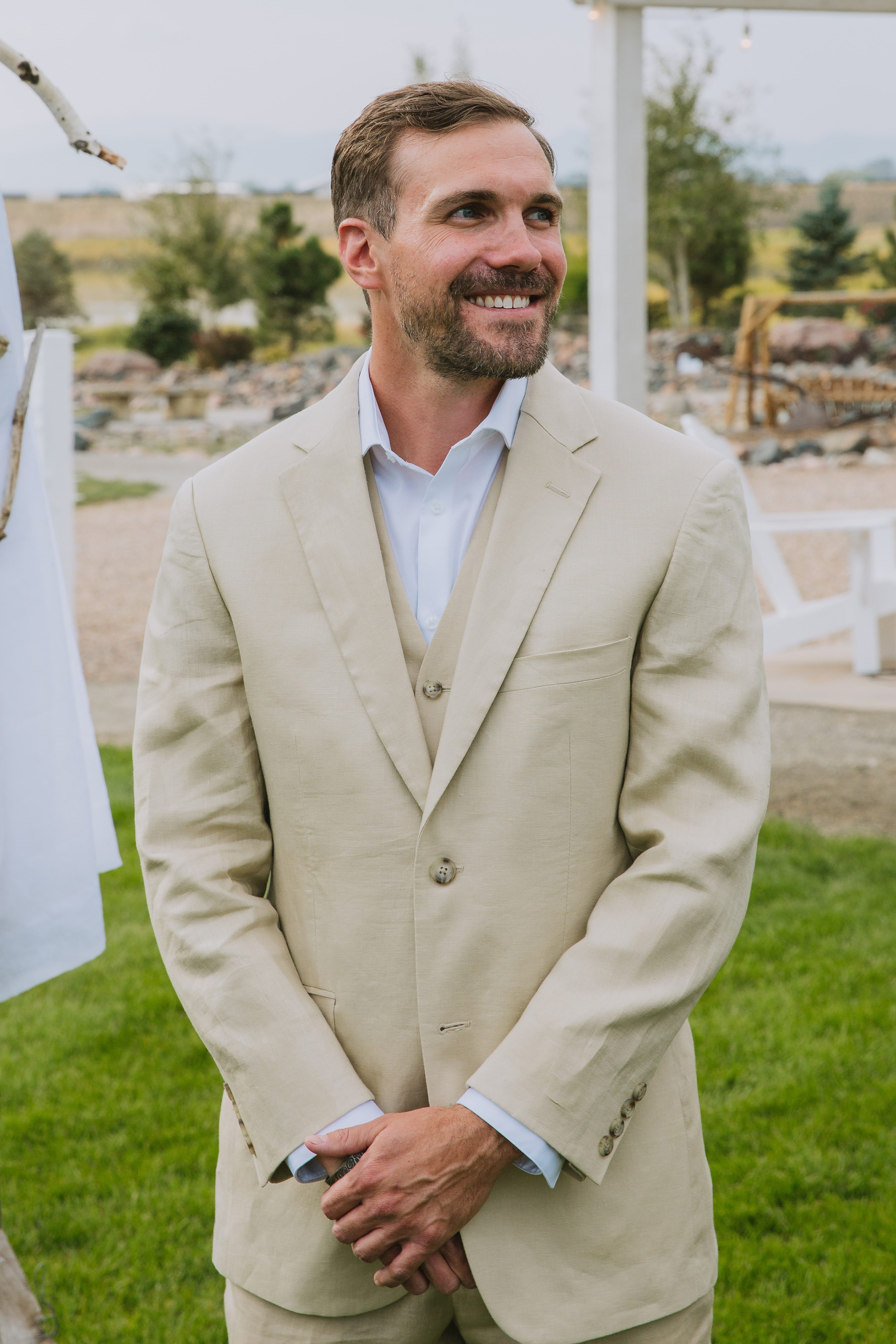 johnstown,groom,tan suit,suit no tie