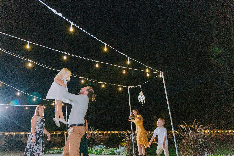 outdoor receptoin,market lights,dancing under lights